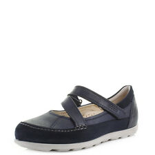 Womens Ecco Cayla MJ Marine Navy Velcro Comfort Leather Mary Jane Shoes UK Size