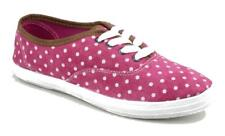 Divaz Ladies Lace Up Summer Polka Dot Dotty Spotty Summer Canvas Trainers Pink