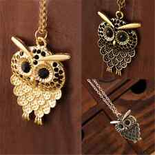 Vintage Women Retro Bronze Owl Pendant Long Sweater Chain Necklace Jewelry Gift