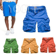 Men's Cotton Shorts Relaxed Fit Army Cargo Baggy Chino Short Trousers Beachwear