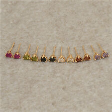 Lovely 14K Yellow Gold Filled Colorful CZ girls Heart gold Stud earrings