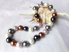 14mm variations color round genuine south sea mother of pearl shell necklace