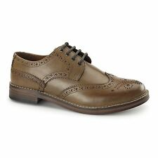 Red Tape MEATH Mens Soft Leather Lace Up Perforated Wingtip Brogue Shoes Tan