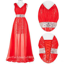 Red Chiffon Bridesmaid Dress V Neck Sequin Prom Party Evening Gown StockSize2-16