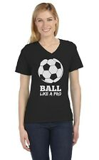 Soccer - Ball Like a Pro Gift for Soccer Lovers V-Neck Women T-Shirt Cool