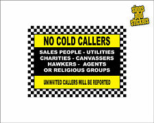 No Cold Callers Sign Sticker, No Canvassers, Religious Groups, Sales, No Hawkers