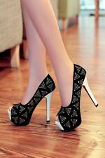 Sexy Womens Glitter Rhinestone Peep Toe High Heel Platform Cocktail Party Shoes