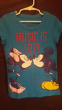 Disney~Minnie and Mickey Mouse~Music is Love~Girls BlueT Shirt~Sparkly~NWT