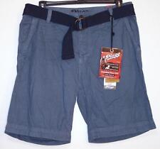 NWT Men's Plugg Belted Casual Shorts Size 30 34 36 38 Chambray Blue  100% Cotton