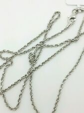 14k Solid White Gold Diamond Cut Twist Rope Necklace Pendant Chain 1.5mm 16-30""