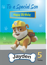 Personalised Paw Patrol Rubble Birthday Card  A5 for Son, Grandson