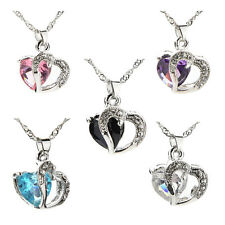 Hot Women Heart Crystal Rhinestone Chain Silver Pendant Necklace Fashion Jewelry