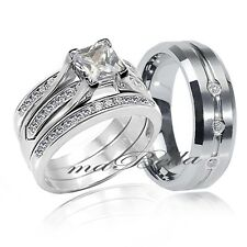 4 Pc Hers 925 Sterling Silver His Tungsten CZ Wedding Engagement Ring Band Set