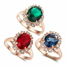 Women Elegant 18K Gold Plated Emerald Green Finger Ring Austrian Crystal Jewelry