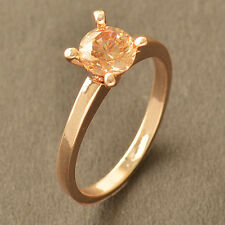 Authentic Champagne CZ Rose Gold Filled Wedding Engagement Ring,Size 6 7 8 9 HOT