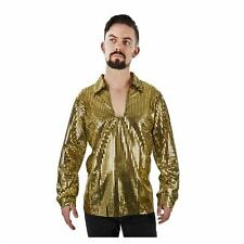 70's Disco DANCE FEVER Nightclub PIMP GOLD Sequin Shirt Men's Costume S XL XXL