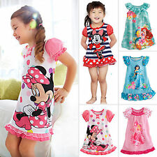 Toddler Kids Girls Summer Minnie Mouse Party Shift Tunic Dress Skirt Pajama 2-5Y