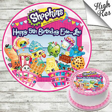 "SHOPKINS 7.5"" ROUND EDIBLE BIRTHDAY CAKE TOPPER DECORATION PERSONALISED"