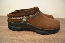 DANIEL GREEN BROWN Clog / Slipppers Slip-On Womens Shoes Floral Trim Size 7 DG