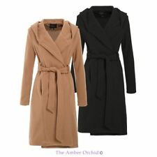 WOMENS LADIES WRAP OVERSIZED BELTED SHAWL HOOD FAUX WOOL JACKET SIZES 8-16