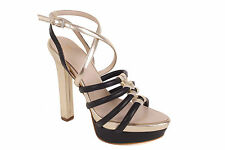 Versace Women's Pumps Highheels Strappy Sandals Black/Gold BS21