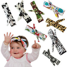 DIY Baby Girls Bow Knot Animal Print Headband Rabbit Turban Leopard Head Wraps