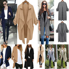 Womens Ladies Long Sleeve Waterfall Cardigan Coats Jacket Overcoat Outwear Tops