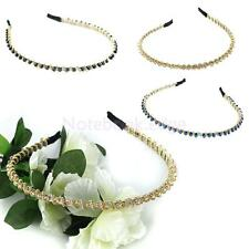 Fashion Women Beads Chain Twined Headband Alice Band with Crystal Rhinestone