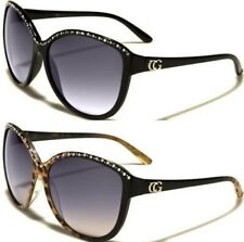 NEW BLACK SUNGLASSES LADIES WOMENS BIG LARGE DIAMANTE CAT EYE DESIGNER VINTAGE