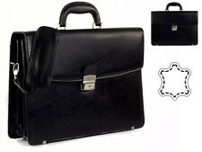 Mens Real Leather Black Briefcase Business Execuitve Bag