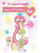 Personalised My little pony Fluttershy inspired Birthday Card, Daughter Niece