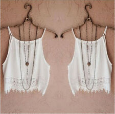 Lace Tank Tops Sleeve Short Summer T-Shirt Tee Blouse Womens Tops Casual Fashion