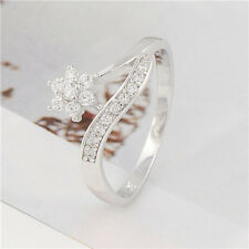 Lovely 9K White Gold Filled Swarovski Crystal Womens Flower Ring,Size 6,7