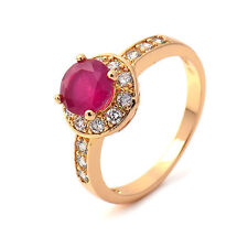 Gorgeous 18K Yellow Gold Filled Red corundum & CZ Womens Ring,Size 6,7,8,9