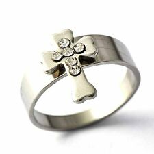 vintage bishop White Stainless Steel Mens CZ Cross Band Ring SZ 8 9 10 11 12