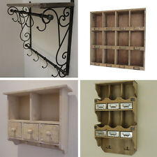 Wall Shelving Cabinet Wooden Coat Hooks Shabby Chic Finish Pigeon Hole Shelving