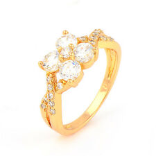 Fashion 24K Yellow Gold Plated Round Cubic Zirconia Promise Love Band Rings