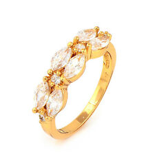 Fashion 24K Yellow Gold Plated Clear Marquise CZ Promise Love Band Ring