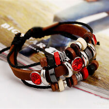 Women Leather Beaded Braided Bracelet Infinity Charm Multilayer Woven Wristband