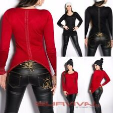 Womens Long Sweater Party Casual Sexy HOT NEW Fashion Jumper Red Black Size 8 10