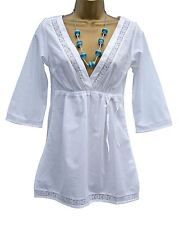 NEW Deep V Neck Kaftan Blouse Top in White with Lace Trim Detail
