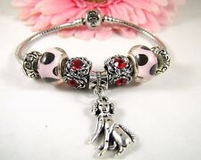 European Style Sterling Silver Black and Pink Murano Beads With Dalmatian Charm