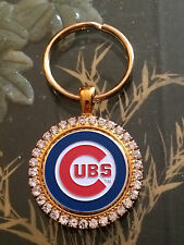 RHINESTONE KEYRING/  PENDANT W/ MLB CHICAGO CUBS SETTING JEWELRY
