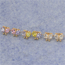 18K Yellow Gold Filled Rainbow crystal Crystal Womens Butterfly Stud Earrings