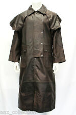 Mens Brown Skipper Real Hide Leather Duster Riding Trench Long Coat Jacket