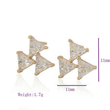 18K Yellow Gold Filled Colorful crystal Crystal Womens Stud Earring