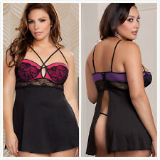 sexy lace hollow sleepwear lingerie dress g-string chemise nightgown Plus size