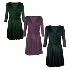 NEW Great Plains Wrap Front Jersey Skater Dress in Black Teal or Plum RRP £65