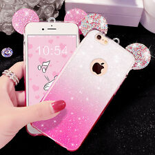 3D Cute Candy Color Gradient Mouse Ear TPU Phone Case Cover For iPhone 6 6S Plus