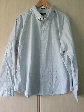 mens JASPER CONRAN WHITE COTTON WITH BLUE FLECK DESIGN LONG SLEEVE SHIRT SIZE XL